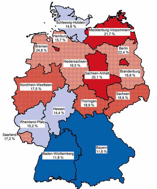 Armutsquoten 2015 nach Bundesländern. (Quelle: Statistische Ämter des Bundes und der Länder / Armutsbericht 2017 / Der Paritätische Gesamtverband)